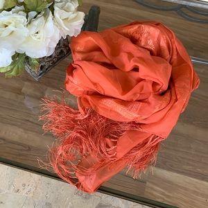 Cold water Creek Orange Silk Scarf